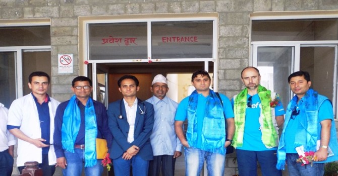 UNICEF Nepal WASH Project Monitoring Team in Methinkot Hospital at Kavre District